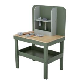 Bloomingville Houten Werkbank Bubba met gereedschap - Groen