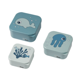 Done by Deer Snackbox Sea Friends - Blauw (set van 3)