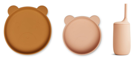 Liewood Siliconen Junior Kinderservies Set Nathan - Mr Bear Rose Multi Mix