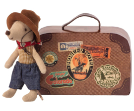 Maileg Cowboy in Suitcase Mouse Little Brother (8 cm)