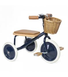 Banwood Trike Driewieler - Blauw (incl. rieten mandje en duwstang)