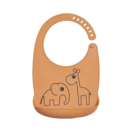Done by Deer Siliconen Bib Slabbetje Deer Friends - Mustard