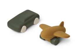 Liewood Auto en Vliegtuig Speelgoedset Kevin - Hunter Green / Olive Green (set van 2)
