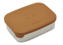 Liewood Lunchtrommel RVS Nina Lunchbox - Cat Mustard (Extra groot)