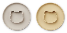 Liewood Siliconen bord met geïntegreerde kom Gordon - Mr Bear Wheat Yellow  / Sandy Mix (set van 2)