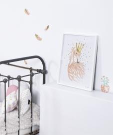 Lilipinso Flamingo gouden sterretjes - Muursticker (S1041)