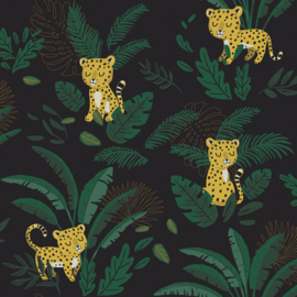Lilipinso Jungle Night Behang - Cheetah and Tropical Leaves (dark green)