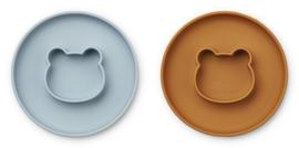 Liewood Siliconen bord met geïntegreerde kom Gordon - Mr Bear Sea Blue / Mustard Mix (set van 2)