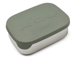 Liewood Lunchtrommel RVS Arthur Lunchbox - Dino Faune Green
