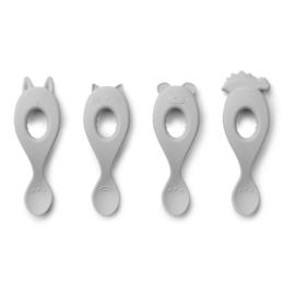 Liewood Liva Silicone Spoon Lepelset -  Dumbo Grey (set van 4)