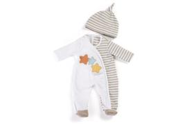 Miniland Poppen Pyjama beige gestreept - (40 cm)