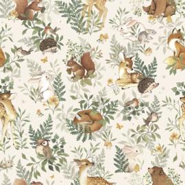 Lilipinso Behang Sample Oh Deer Behang - Forest Friends (Beige)