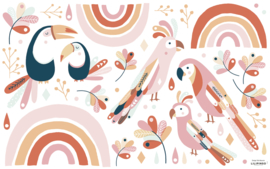 Lilipinso Paradisio Muurstickers XL - Tropical Birds Pink and Orange
