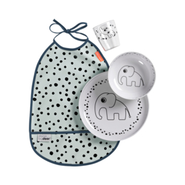Done by Deer Dinner Set Happy Dots - Blauw (set van 4)