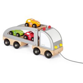 Janod Trekfiguur - Vrachtwagen met 3 auto's
