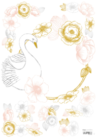 Lilipinso Botany Muursticker A3 - Swan and Flowers (S1221)