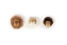 Wild and Soft Mini Safari Set van 3 Dierenkoppen - Orang Oetan, Tijger en Chimpansee
