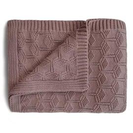 Mushie Deken Knitted Honeycomb Baby Blanket - Desert Rose