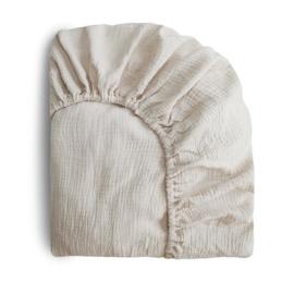 Mushie Hoeslaken Extra Soft Muslin Crib Sheet - Fog