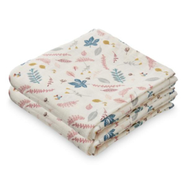 CamCam Hydrofiele Doek Muslin - Pressed Leaves Rose (set van 2)