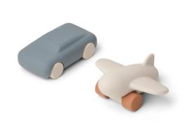 Liewood Auto en Vliegtuig Speelgoedset Kevin - Blue Wave / Sandy (set van 2)