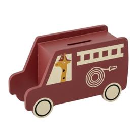 Bloomingville Spaarpot Moneybank Brandweerauto - Rood