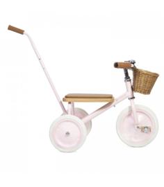 Banwood Trike Driewieler - Roze (incl. rieten mandje en duwstang)
