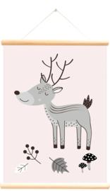 Little and Pure Schoolplaat Bosdieren Alfabet - Roze (dubbelzijdig)