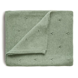 Mushie Deken Knitted Pointelle Baby Blanket - Sage Melange