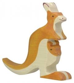 Holztiger Kangoeroe met Baby (80193)