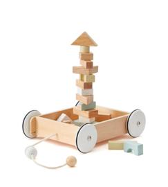 Kids Concept Trekwagentje met Blokken - Naturel