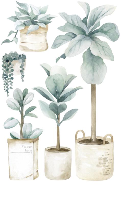 Lilipinso Greenery Muursticker XL - Large Plants and Jars