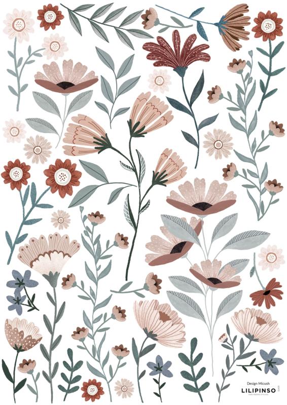 Lilipinso Ocean Field Muurstickers A3 - Ocean Flowers