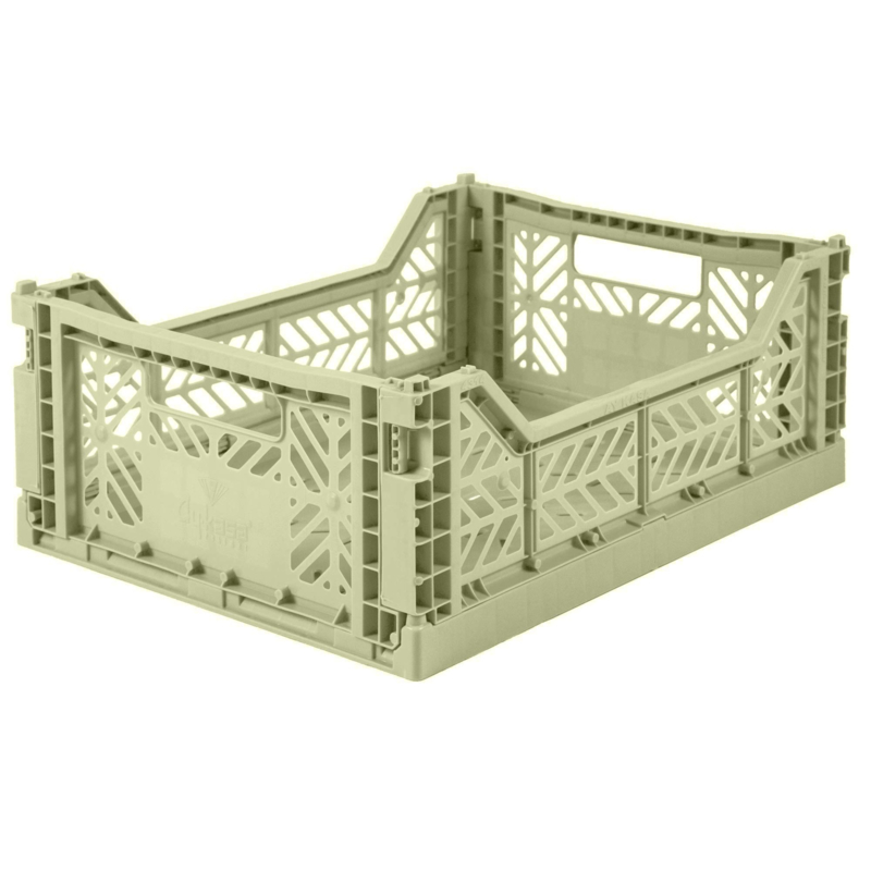 AyKasa Folding Crate Midi Box - Lime Cream