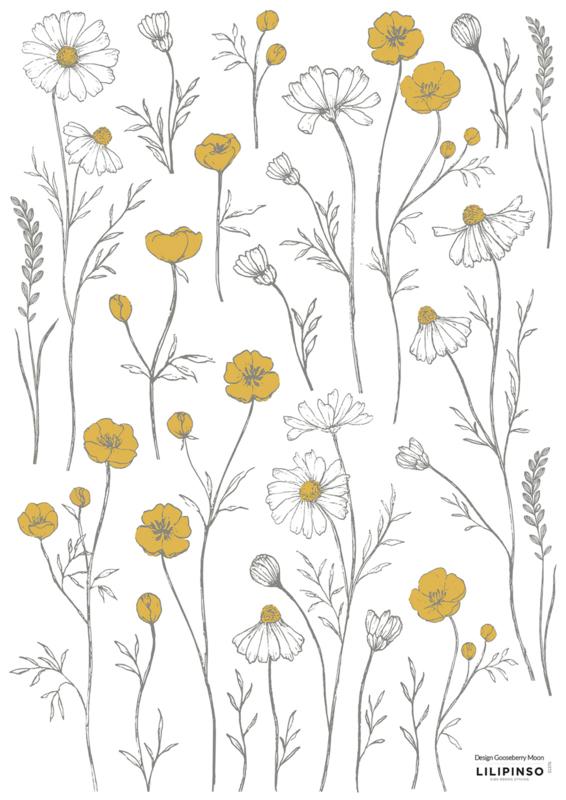 Lilipinso Chamomile Muursticker A3 - Meadow Flowers Small