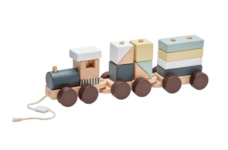Kids Concept Houten Speeltrein met Blokken - Naturel