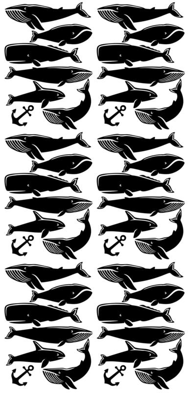 Pom Muurstickers - Walvissen (zwart)