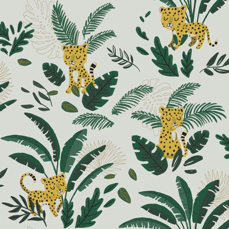 Lilipinso Jungle Night Behang - Cheetah and Tropical Leaves (light green)