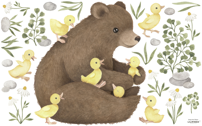 Lilipinso Lucky Ducky Muurstickers XL - Bear and Baby Ducks