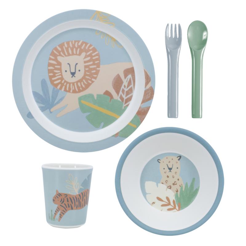 Sebra Melamine Dinner Set Wildlife - Eucalyptus Blue