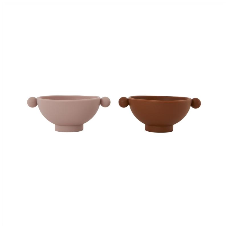 OYOY Tiny Inka Bowl Kommetje - Caramel/Rose (set van 2)