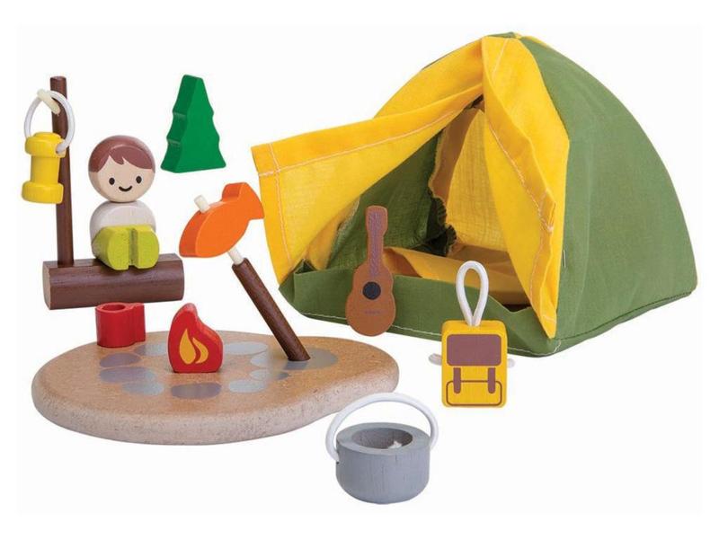 Plantoys Houten Speel Camping Set - Kampeerterrein