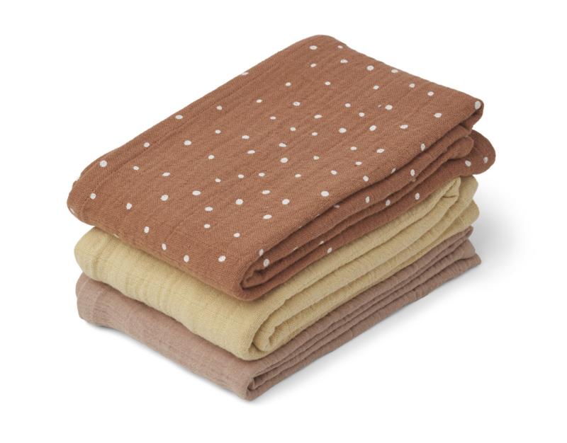 Liewood Line Muslin Cloth Hydrofiele Doeken - Confetti Terracotta Mix (set van 3)