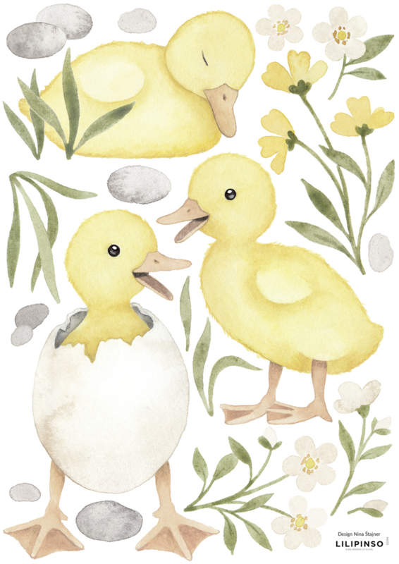 Lilipinso Lucky Ducky Muurstickers A3 - 3 Big Ducklings