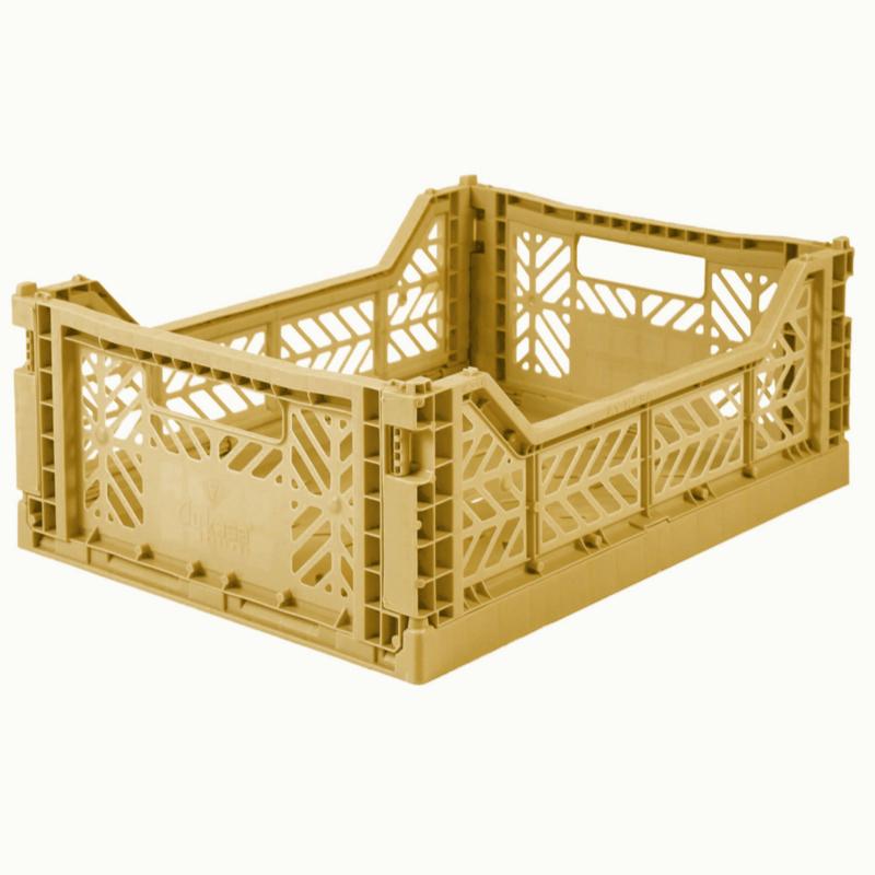 AyKasa Folding Crate Midi Box - Gold