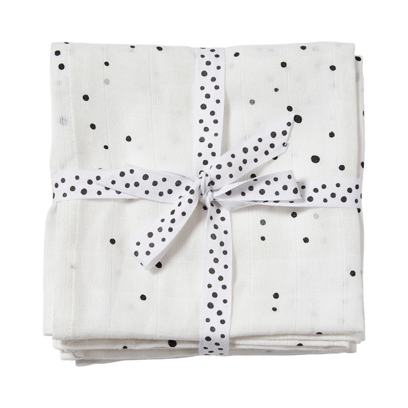 Done by Deer Spuugdoek Burp Cloth Dreamy Dots - Wit (set van 2)
