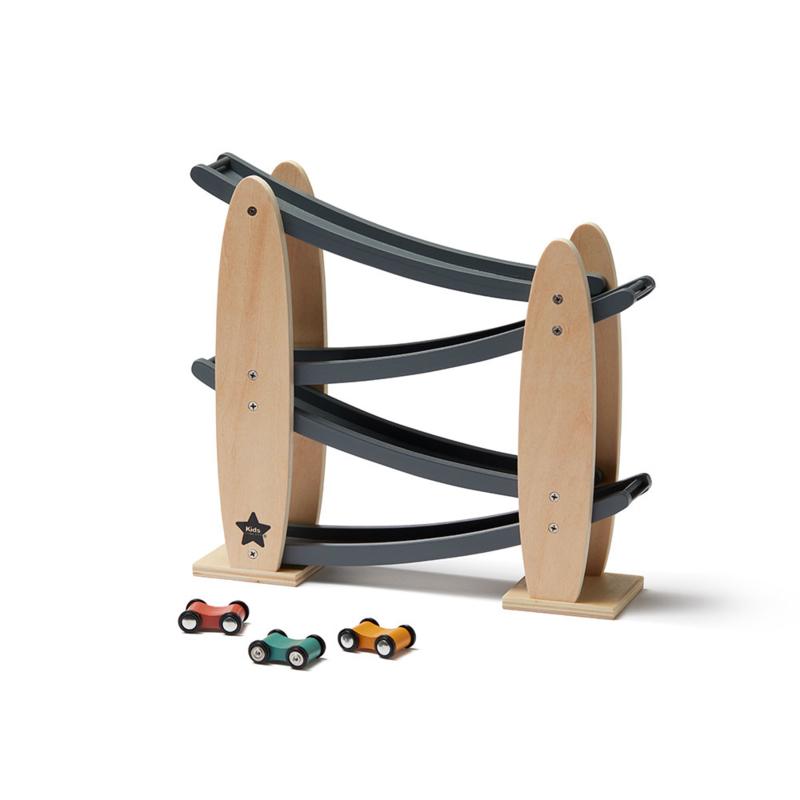 Kids Concept Racebaan Aiden- Natuur/Grijs (zigzag)