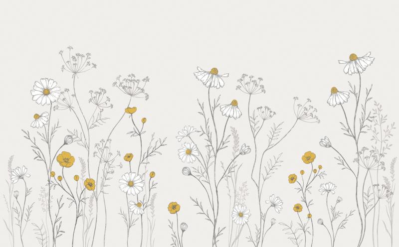 Lilipinso Chamomile Behang - Wild Flowers (400b  x 248h )