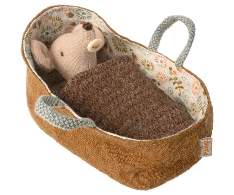 Maileg Baby Mouse in Carrycot (8 cm)
