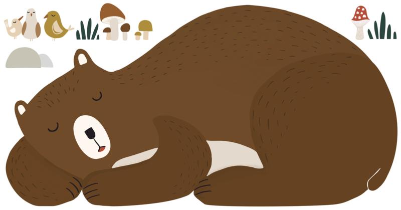 Lilipinso Forest Happiness Muursticker XL - Sleepy Bear